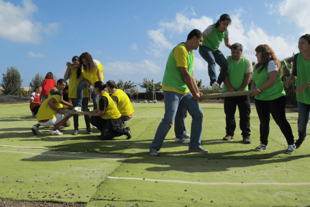 Group of adults bonding through team building games